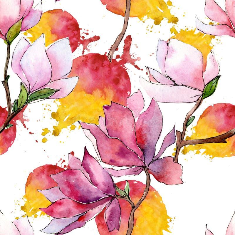 Roze magnolia Bloemen botanische bloem Het wilde patroon van het de lenteblad wildflower stock illustratie