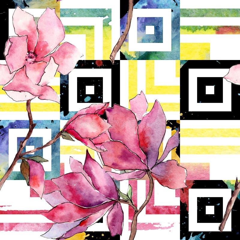 Roze magnolia Bloemen botanische bloem Het wilde patroon van het de lenteblad wildflower vector illustratie