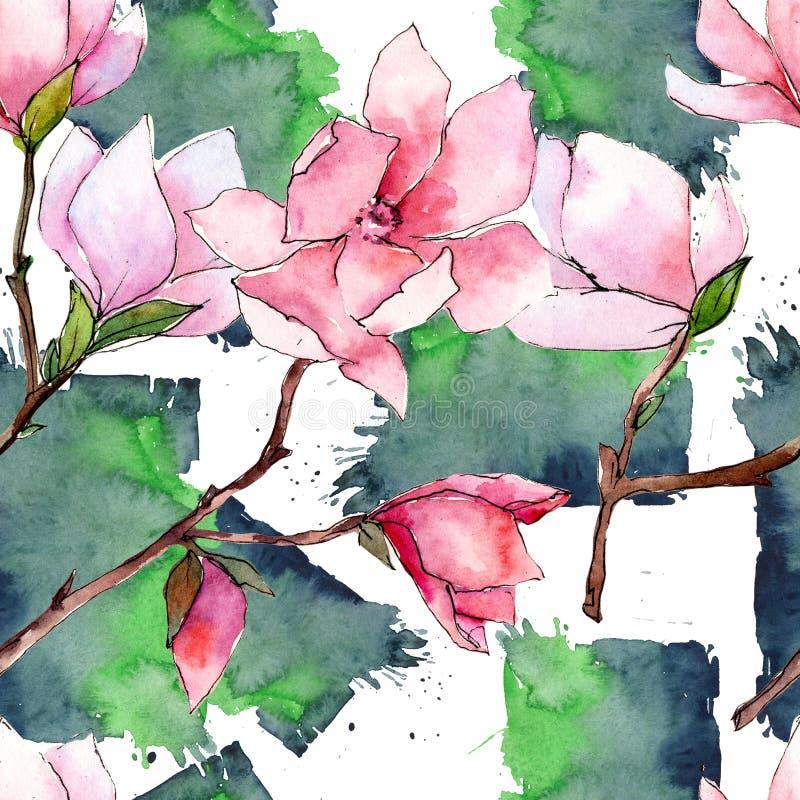 Roze magnolia Bloemen botanische bloem Het wilde patroon van het de lenteblad wildflower royalty-vrije illustratie