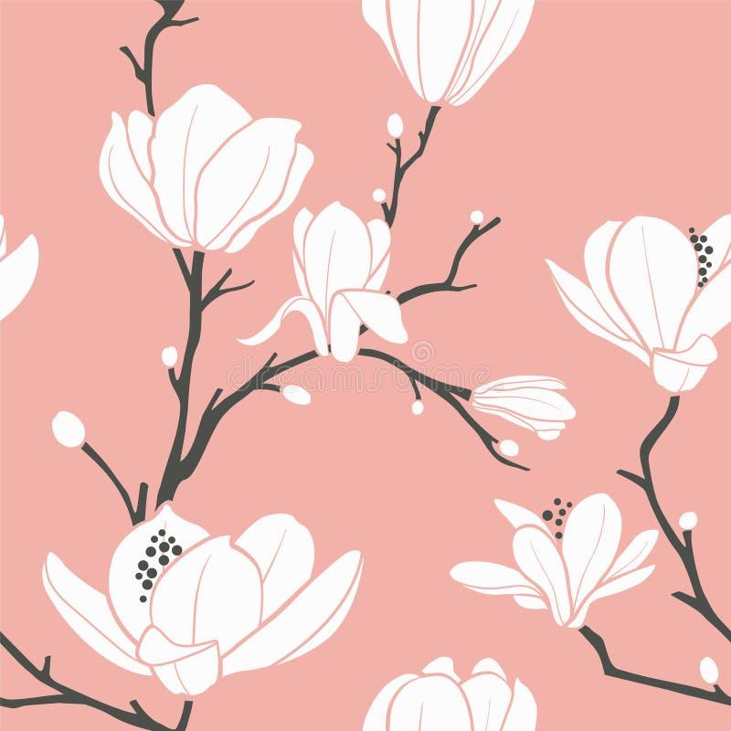 Roze magnoliapatroon royalty-vrije illustratie