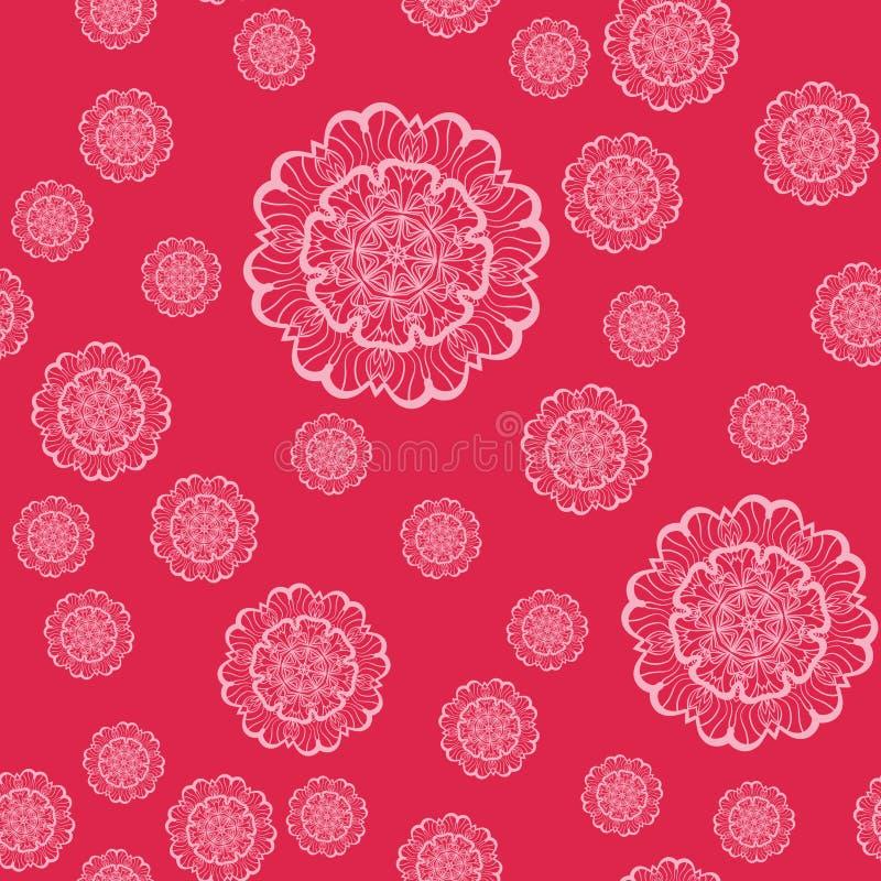 Roze Mandala Shapes Geometric Seamless Pattern Het herhalen van Achtergrondtextuur in Roze Kleur Modieuze vectorillustratie vector illustratie