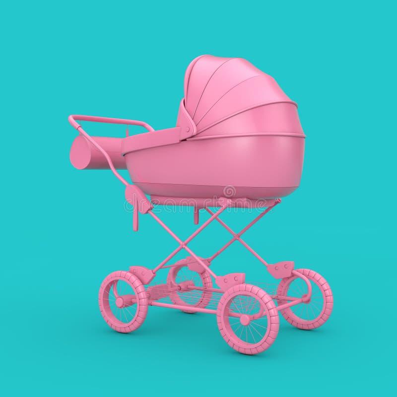 Roze Moderne Kinderwagen, Wandelwagen, Kinderwagenspot omhoog het 3d teruggeven stock afbeelding
