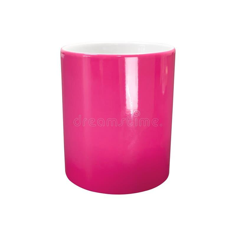 Roze mok op ge?soleerde achtergrond met het knippen van weg Ceramische koffiekop voor montering of ontwerp royalty-vrije illustratie