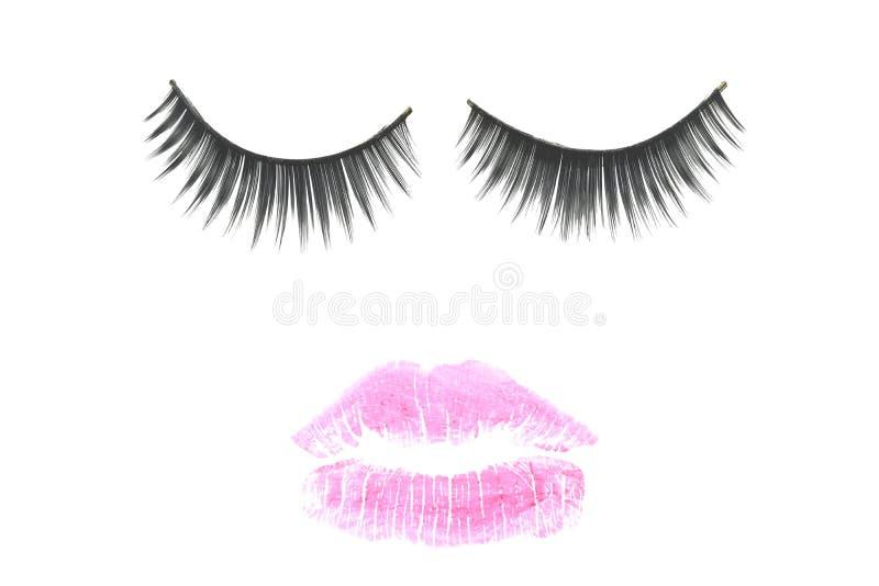 Roze mond en wimpersconcept voor make-up stock fotografie