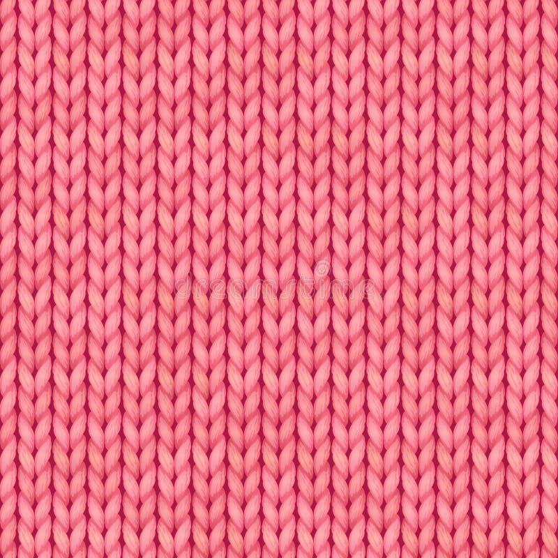 Roze naadloos gebreid patroon Wollen doek Kerstmis Rood Gebreid Patroon voor groetkaart, banner, achtergronden royalty-vrije illustratie