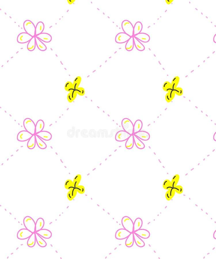 Roze naadloos klein bloemenpatroon met punten royalty-vrije illustratie