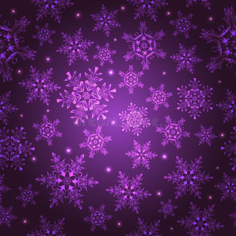Roze naadloos patroon met sneeuwvlokken, stock illustratie