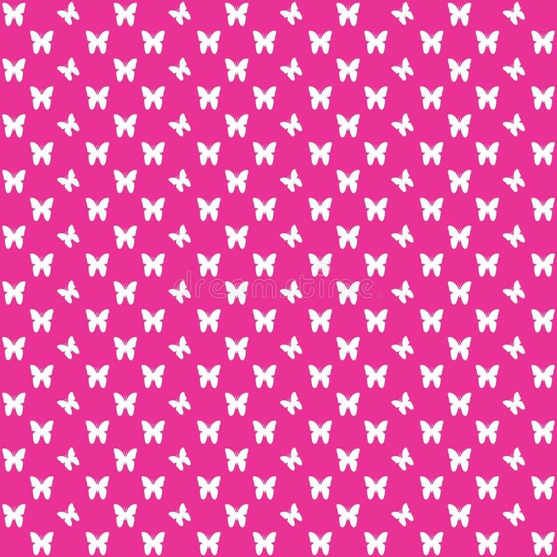 Roze naadloos vlinderpatroon, vlinders vectorachtergrond stock afbeelding