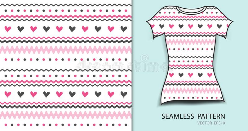 Roze naadloze patroon vectorillustratie, t-shirtontwerp, stoffentextuur, gevormde kleding vector illustratie