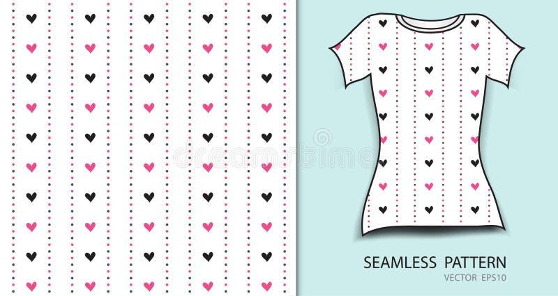Roze naadloze patroon vectorillustratie, t-shirtontwerp, stoffentextuur, gevormde kleding stock illustratie
