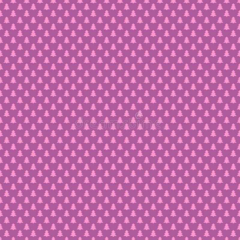 Roze naadloze retro gestileerde bos het patroonachtergrond van de pijnboomboom - vector grafische Kerstmisdecoratie royalty-vrije illustratie