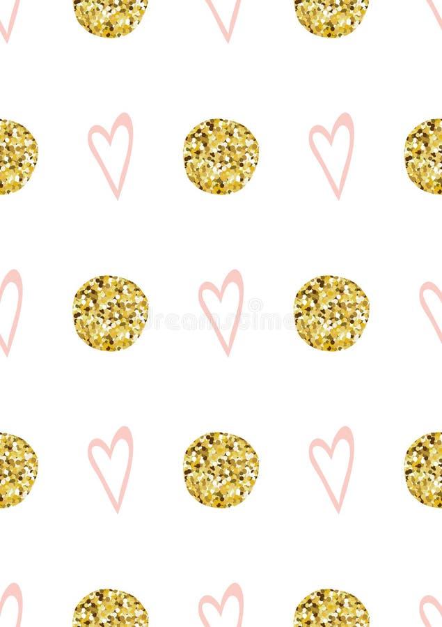 Roze naadloze van de cirkelvormen van patroon Leuke roze harten schitterende de Prinses roze Vector als achtergrond vector illustratie