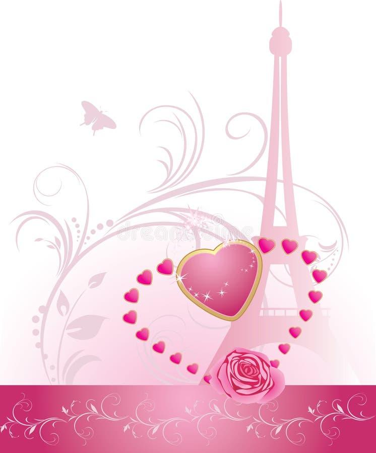 Roze nam met hart en de toren van Eiffel toe. Banner royalty-vrije illustratie
