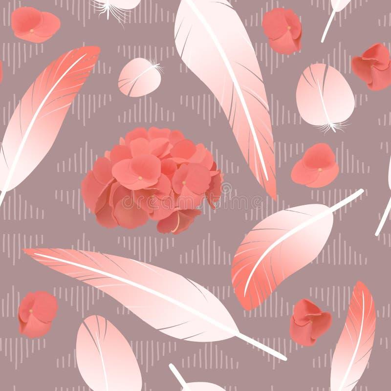 Roze nam pluizige getolde bevlekte veren van het veren de naadloze patroon en hydrangea hortensiabloemen toe, stock illustratie