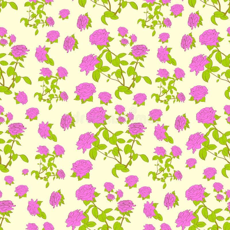Roze nam vector van het bloem de naadloze patroon toe stock illustratie