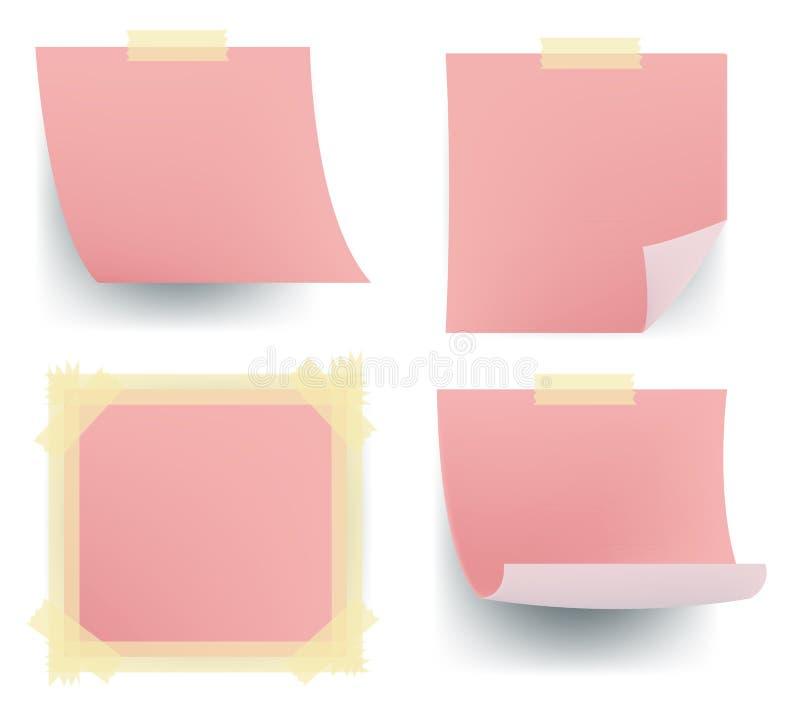 Roze notareeksen die op de muur plakken vector illustratie
