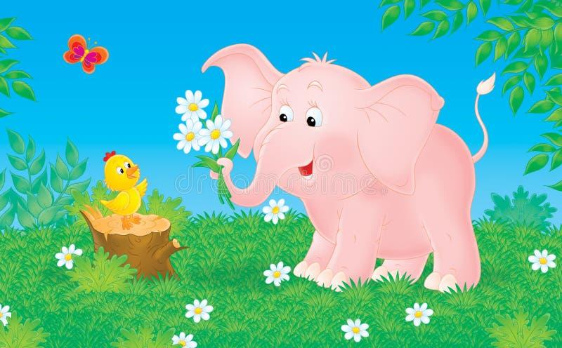 Roze olifant en weinig kuiken stock illustratie