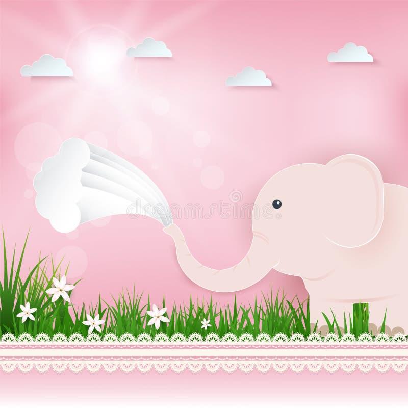 Roze Olifant in gebied en wolkengroetkaart, Gelukkige Verjaardagskaart royalty-vrije illustratie