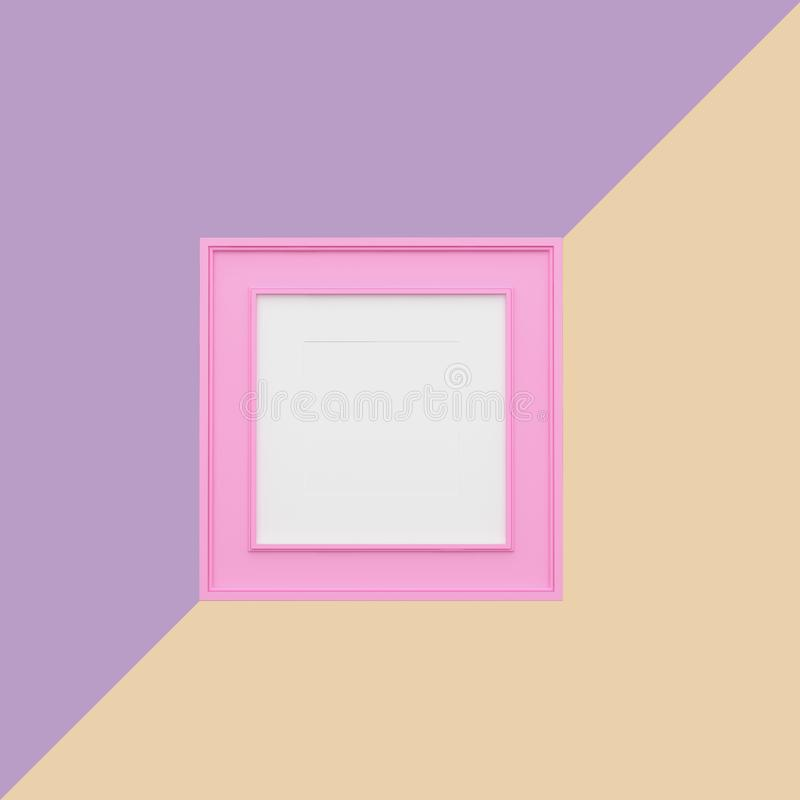 Roze omlijsting op purpere en oranje pastelkleurachtergrond minimaal conceptenidee vector illustratie