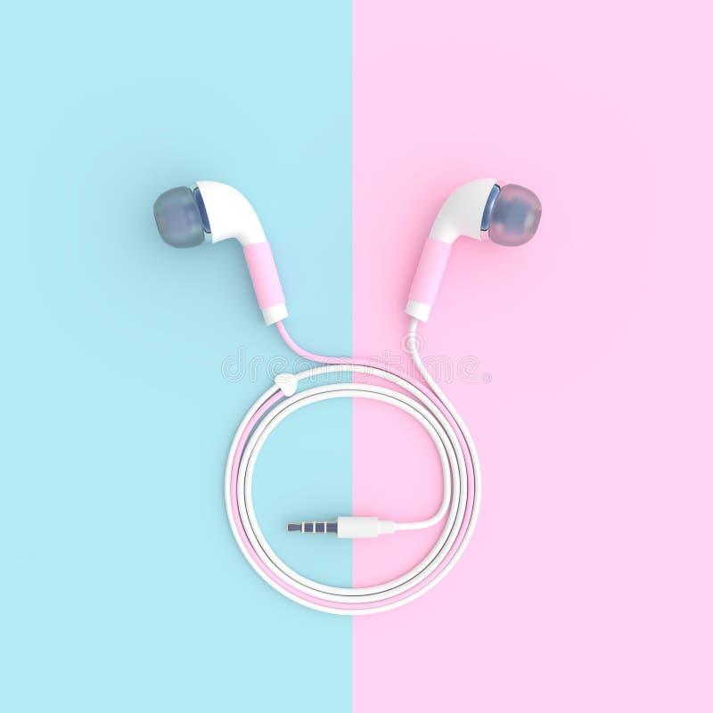 Roze oortelefoon op blauwe en roze pastelkleurachtergrond stock illustratie