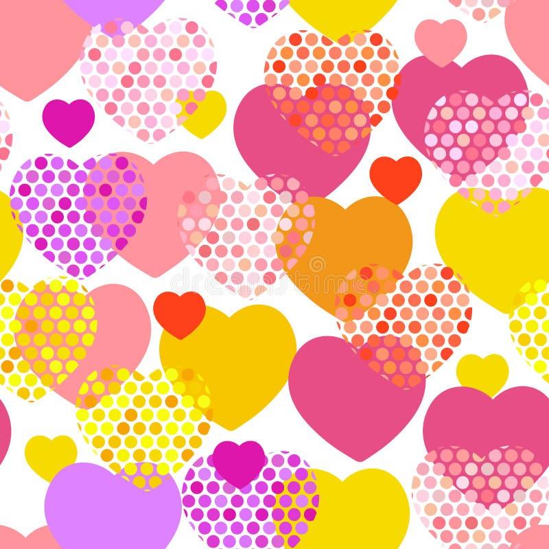 Roze oranje lilac rood geel hart met het naadloze patroon van het stiphart op witte achtergrond Vector royalty-vrije illustratie