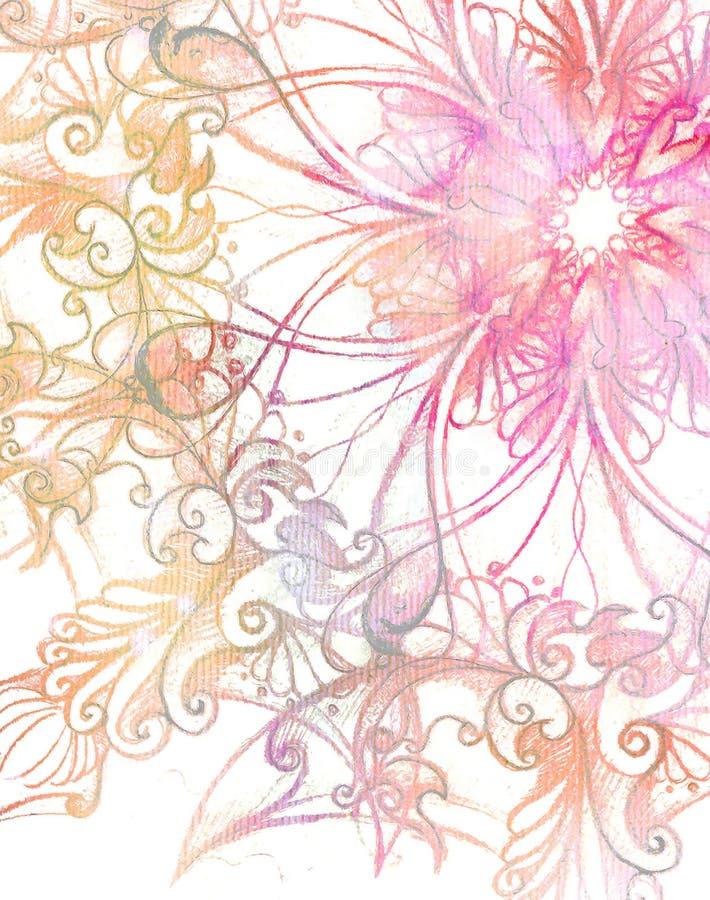 Roze ornament Mandala en fractal kleureneffect stock afbeelding