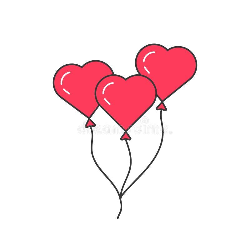 Roze overzichtsballon zoals hart stock illustratie