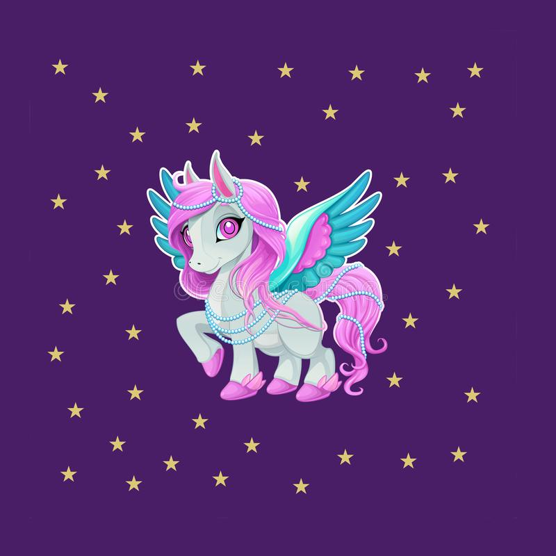 Roze paard of eenhoorn of Pegasus met blauwe vleugels stock illustratie