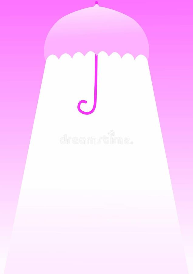 Roze paraplu met lichte uitnodigingskaart stock illustratie