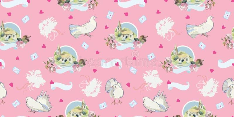 Roze patroon met duif, chappel en hart vector illustratie