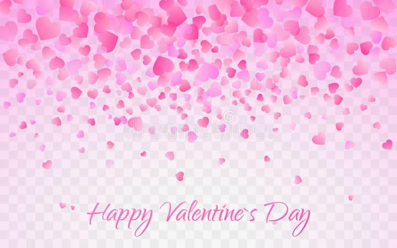 Roze patroon van willekeurige dalende hartenconfettien Het element van het grensontwerp voor feestelijke banner, groetkaart, pren stock illustratie