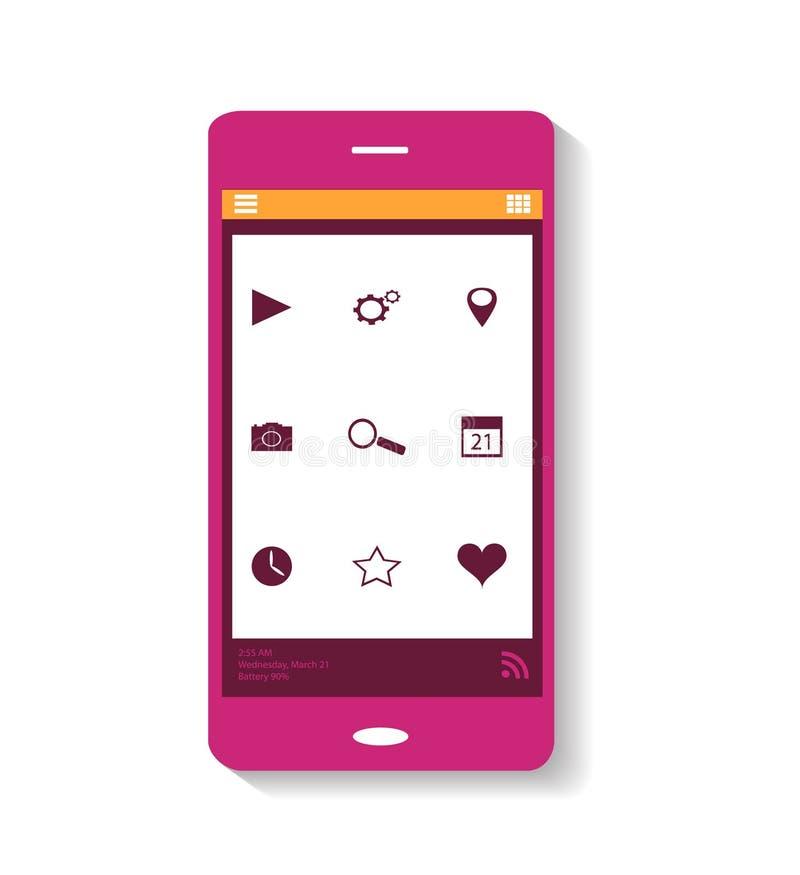Roze pictogram mobiele telefoon royalty-vrije stock fotografie