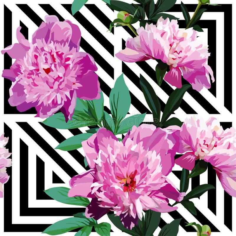 Roze pioen bloemenpatroon, geometrische zwart-witte achtergrond stock illustratie
