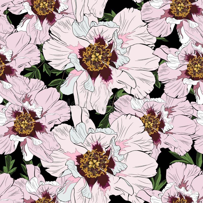 Roze pioenbloemen met bladeren naadloos patroon De illustratie van de waterverfstijl stock illustratie