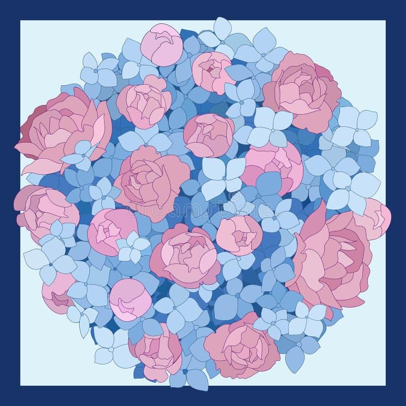 Roze pioenen en blauw hydrangea hortensiaboeket van bloemen op een blauwe achtergrond Vector illustratie vector illustratie