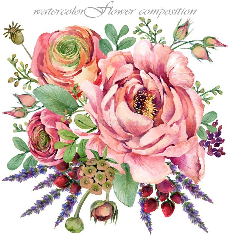 Roze pioenillustratie de samenstelling van de waterverfbloem voor gelukwensen stock illustratie