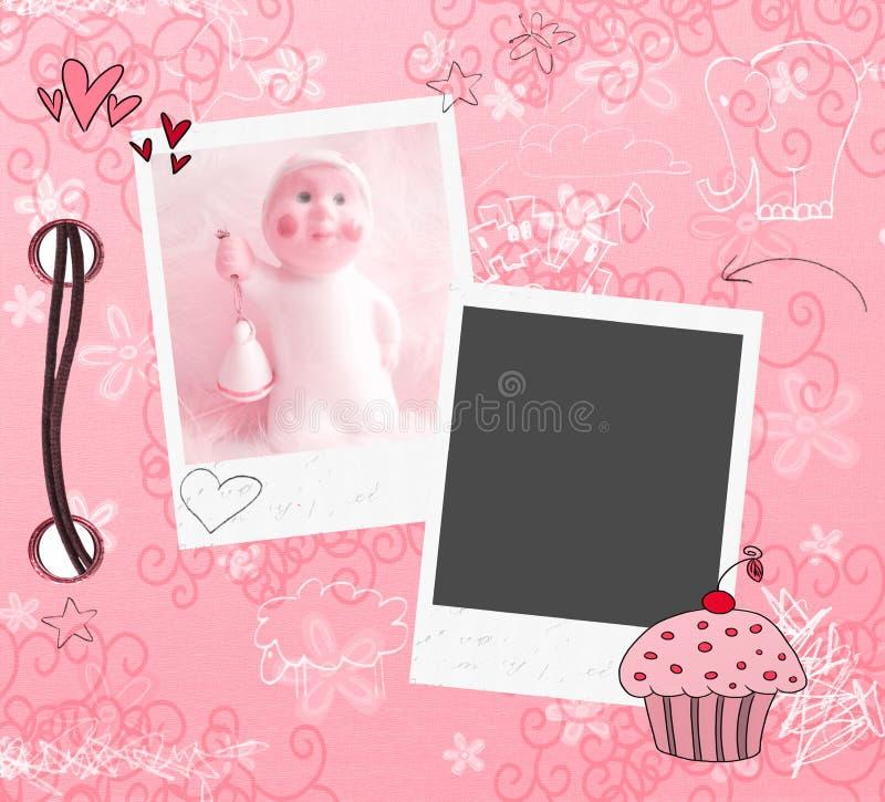 Roze plakboekmalplaatje stock illustratie