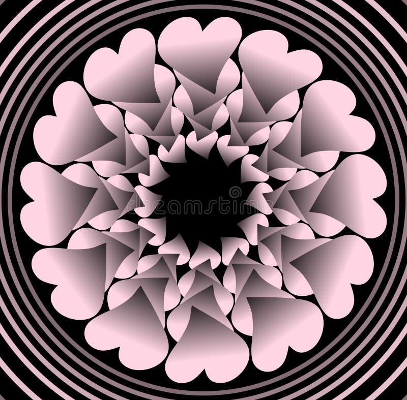 Roze plastic bloem zoals fractal voorwerp op zwarte achtergrond in concentrische cirkelvormen, vectordecoratie met 3d effect stock illustratie