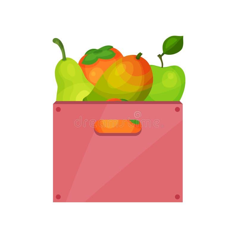 Roze plastic doos met smakelijke vruchten Sappige dadelpruim, appel, mango en peer Rijp en vers voedsel Vlak vectorpictogram royalty-vrije illustratie