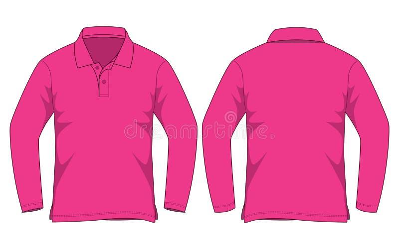 Roze Polo Shirt Long Sleeve Vecor voor Malplaatje stock illustratie