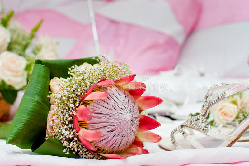Roze Protea-Boeket royalty-vrije stock foto's