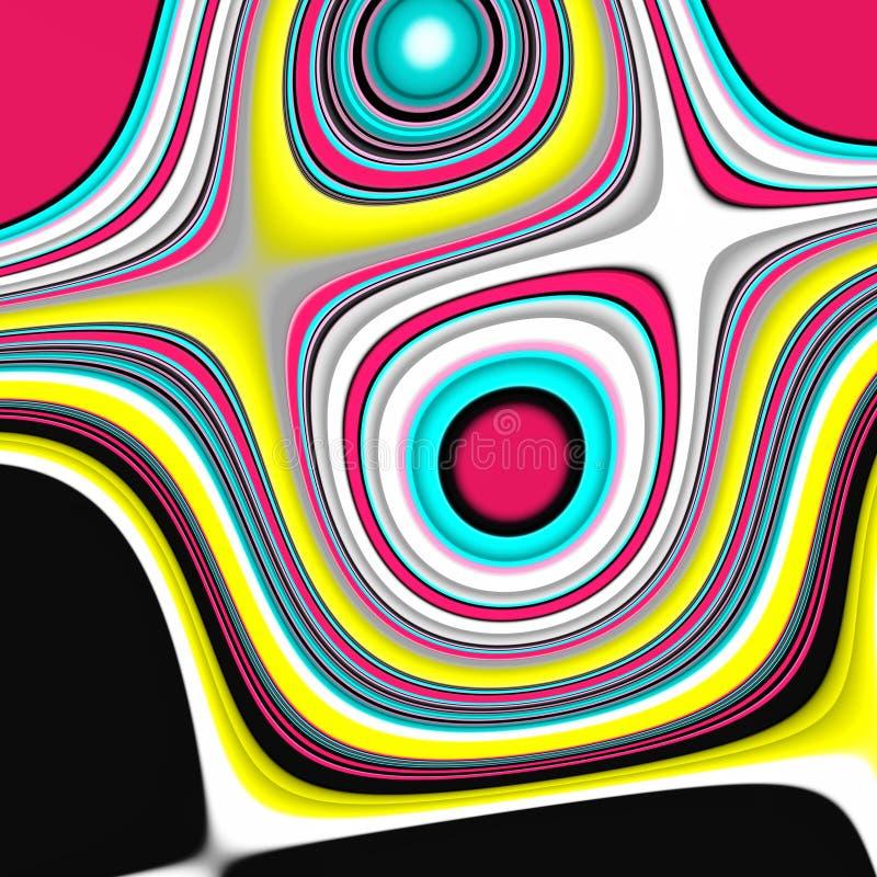 Roze purpere gele fosforescerende donkere vormen, grafiek, abstracte achtergrond stock illustratie