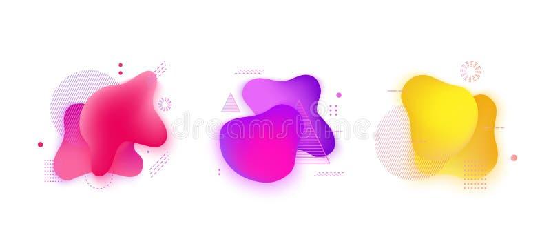 Roze, purpere, gele vlekken van de Absract de vloeibare gradiënt met geometrische geplaatste symbolen royalty-vrije illustratie