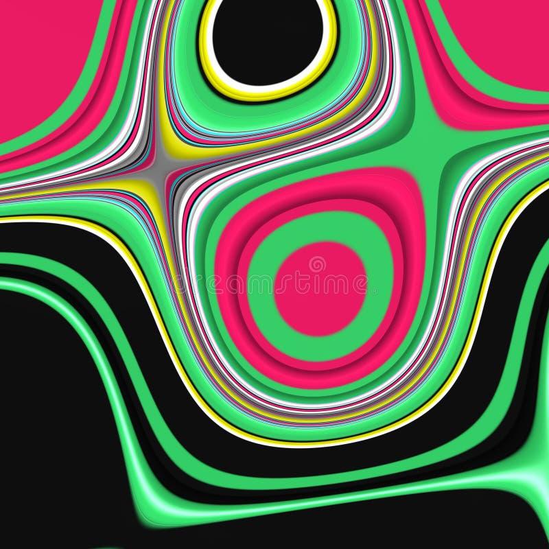Roze purpere groene gele fosforescerende donkere vormen, grafiek, abstracte achtergrond stock illustratie