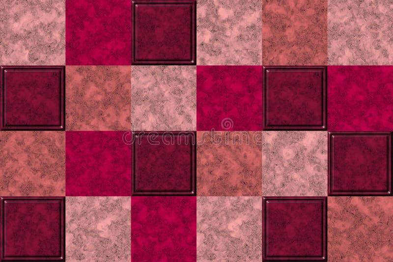Roze, purple en van de roomkleur marmer volumed textuur, tegelpatroon royalty-vrije illustratie