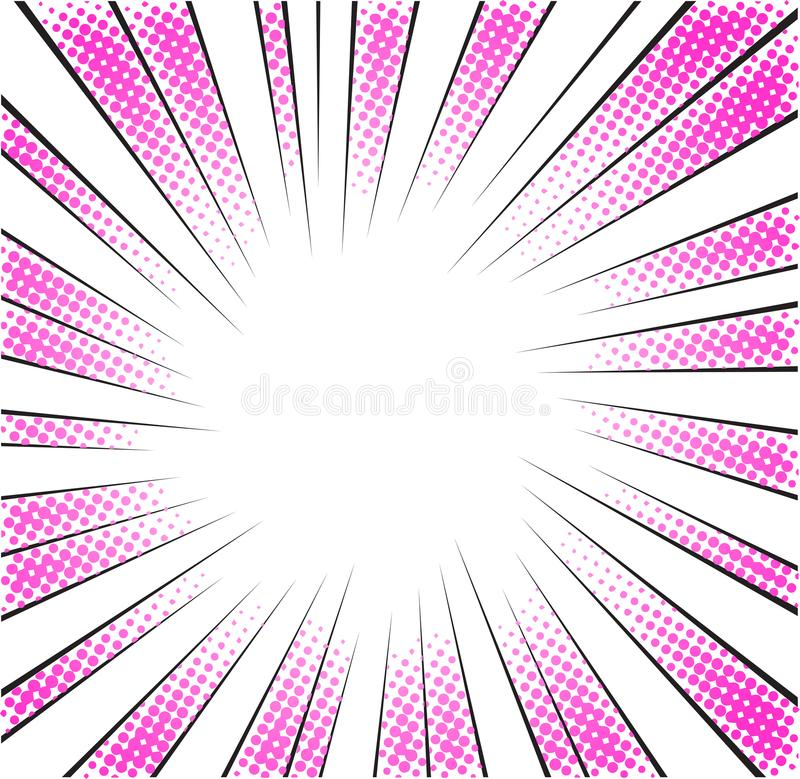 Roze radiale snelheidslijnen halftone voor mangaheld vector illustratie