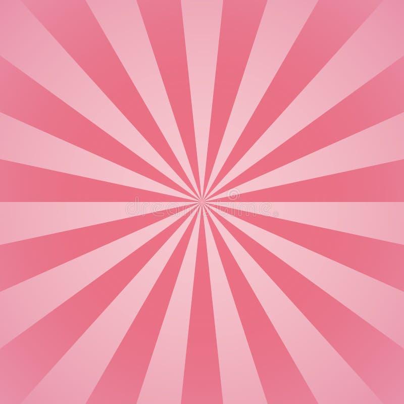 Roze radiale stralen en stralen abstracte lijnen girly achtergrond stock illustratie
