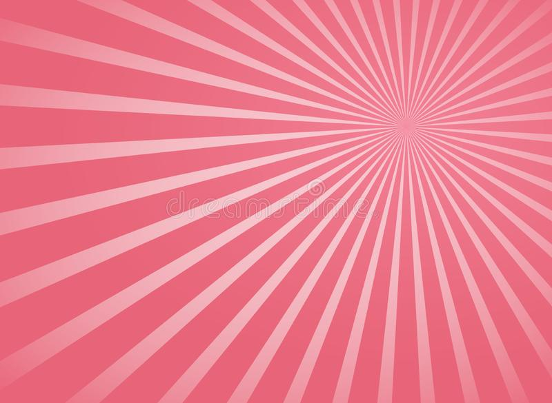 Roze radiale stralen en stralen abstracte lijnenachtergrond royalty-vrije illustratie