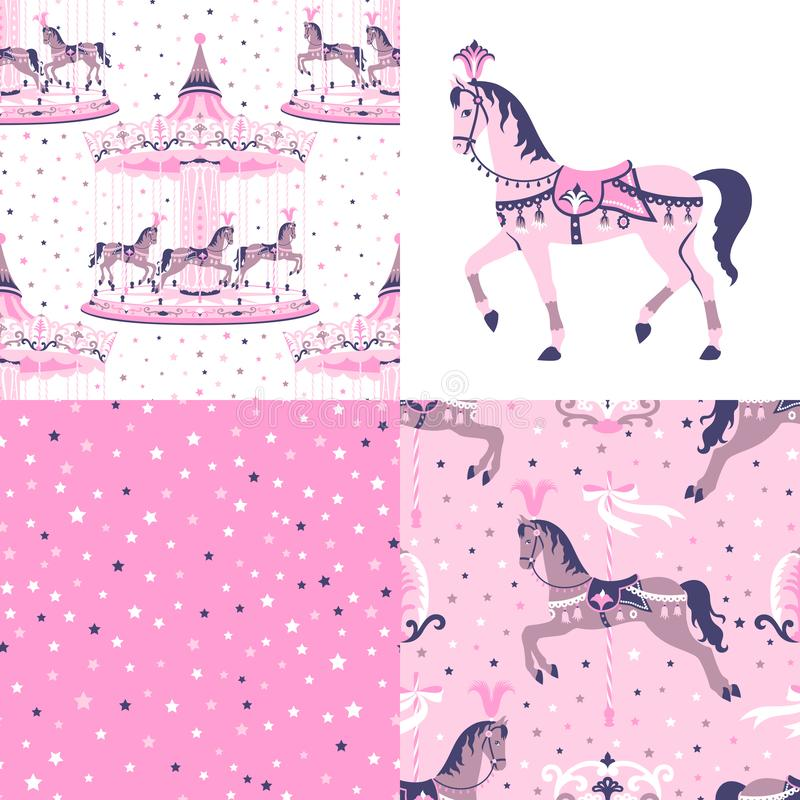 Roze reeks carrousel naadloze patronen vector illustratie