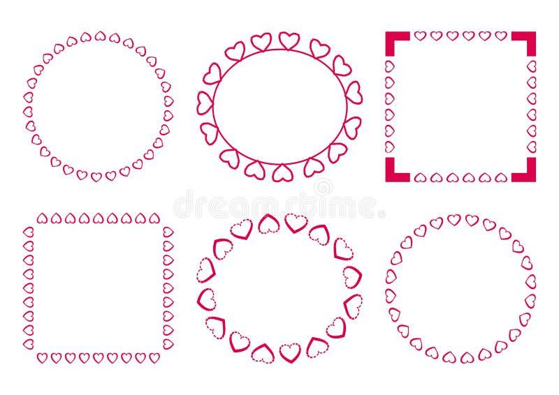 Roze reeks van decoratief kader voor de Dag van Valentine Vector royalty-vrije illustratie
